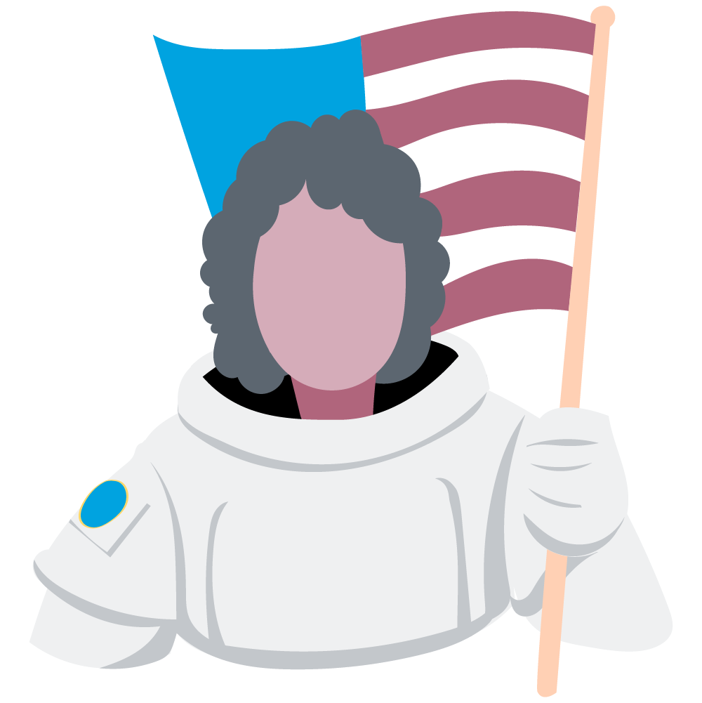 astronaut holds american flag