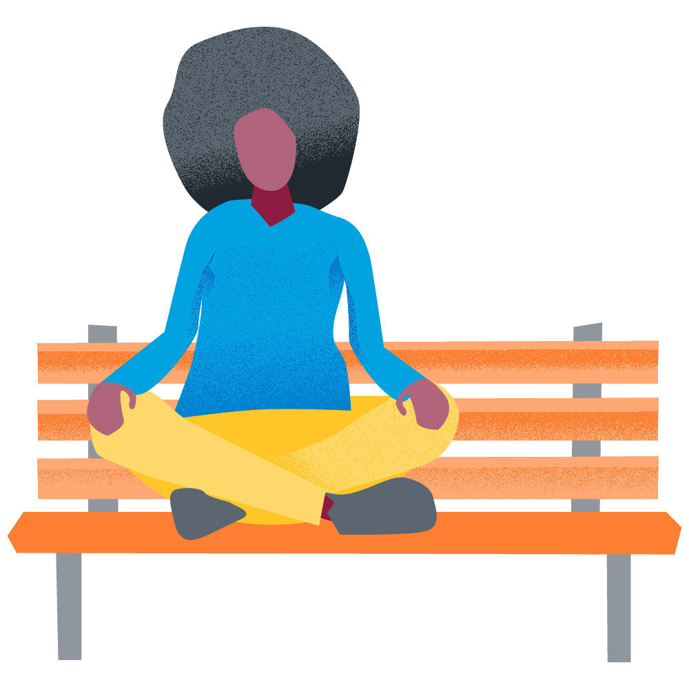 woman being mindful on a park bench